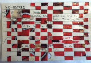 red woven postcard